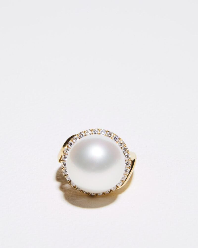 15mm australian pearl and diamond ring