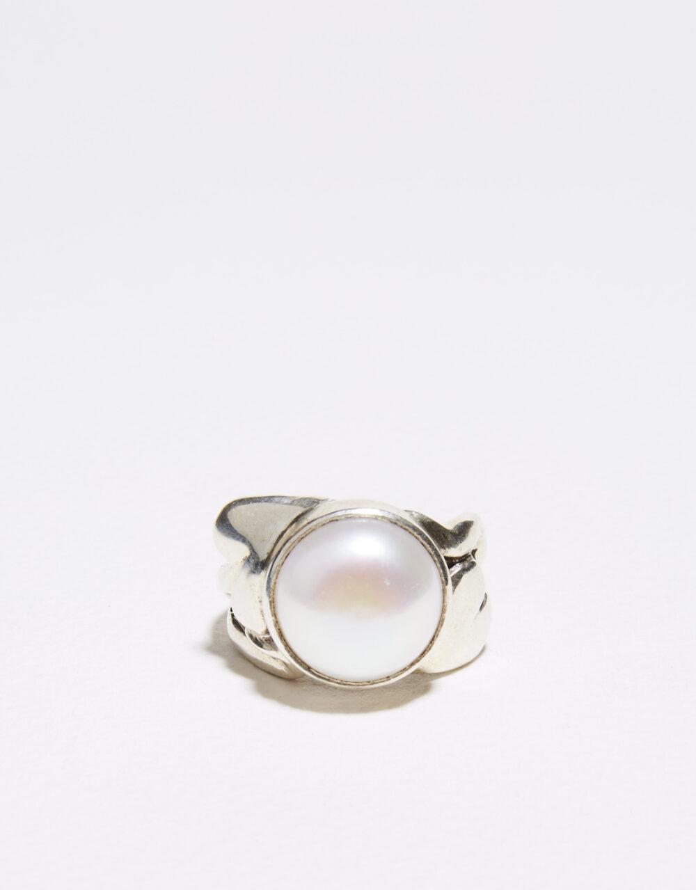 silver leaf ring