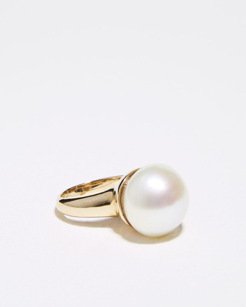15mm pearl cup ring gold